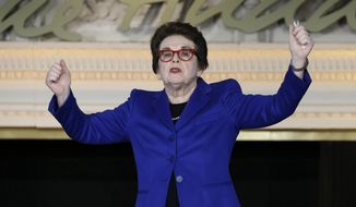 FILE - In this Feb. 4, 2016, file photo, Billie Jean King gestures while speaking at the NFL Women's Summit in San Francisco. Billie Jean King celebrated the 45th anniversary of Title IX at the New York Historical Society, Thursday, June 22, 2017. Title IX, was signed into law on June 23, 1972. It opened doors for girls and women by banning sex discrimination in all federally funded school programs, including sports. (AP Photo/Ben Margot, File)