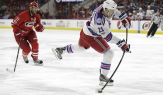 FILE - In this March 9, 2017, file photo, New York Rangers' Derek Stepan (21) shoots as Carolina Hurricanes' Jordan Staal (11) watches during the first period of an NHL hockey game in Raleigh, N.C. The Arizona Coyotes have acquired center Derek Stepan and goalie Antti Raanta from the New York Rangers, Friday, June 23, 2017,  for defenseman Anthony DeAngelo and the seventh overall pick in this year's draft. (AP Photo/Gerry Broome, File)