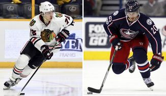 FILE - At left, in an Oct. 14, 2016, file photo, Chicago Blackhawks left wing Artemi Panarin (72), of Russia, plays against the Nashville Predators during the second period of an NHL hockey game, in Nashville, Tenn. At right, in a Jan. 17, 2017, file photo, Columbus Blue Jackets forward Brandon Saad works against the Carolina Hurricanes during an NHL hockey game in Columbus, Ohio. The Blackhawks have re-acquired forward Brandon Saad in a trade with the Columbus Blue Jackets, parting with top young forward Artemi Panarin to complete the blockbuster deal.(AP Photo/File)