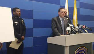 San Francisco Police Commander Greg McEachern addresses the media on Friday, June 23, 2017. Commander Greg McEachern said Friday that a UPS driver who fatally shot three colleagues last week before killing himself was armed with two stolen guns. McEachern said investigators still haven't established a motive for why Jimmy Lam, 38, went on his deadly rampage June 14. (AP Photo/Paul Elias)