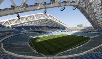 "FILE - This Wednesday, March 1, 2017 file photo shows an inside view of the Fisht Olympic stadium which will host some 2018 World Cup matches, in Sochi, Russia. The Russian city of Sochi's only professional soccer club says it's withdrawing from the league, in a move which calls World Cup legacy plans into question. FC Sochi says in a website statement that it's ""taking a break"" to rethink its strategy but plans to return in the 2018-19 season. It didn't mention any deal with Russian football authorities, who would need to approve any return. (AP Phoro/Artur Lebedev, File)"