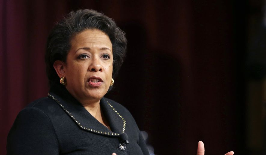 In this April 7, 2017, file photo, former U.S. Attorney General Loretta Lynch speaks during a conference on policy and blacks at Harvard University's Kennedy School of Government in Cambridge, Mass. (AP Photo/Elise Amendola, File)