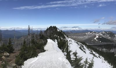 In this June 20, 2017, photo provided by Anya Sellsted shows a snow covered section of the Pacific Crest Trail, near Sisters, Oregon. Sellsted had traversed the highest snow-covered passes and forded raging rivers during her hike from Mexico to Canada when she ran into trouble in the high Sierra Nevada mountains. While crossing a log over a rushing creek in Yosemite National Park, the Seattle woman fell in the deep water and was gasping for air as the weight of her backpack pushed her under. She is among a growing number of hikers who have posted dramatic accounts of saving their own skin after close calls on the Pacific Crest Trail, thanks to melting snow that have swelled creeks and rivers. (Anya Sellsted via AP)