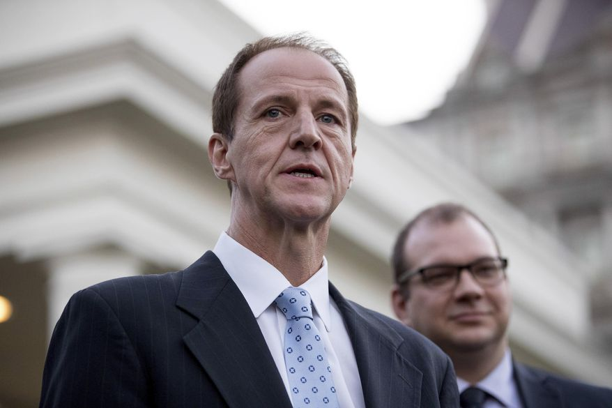 In this March 8, 2017, file photo, Americans for Prosperity President Tim Phillips (left) and FreedomWorks President Adam Brandon speak to members of the media outside the West Wing of the White House in Washington. (AP Photo/Andrew Harnik, File) ** FILE **