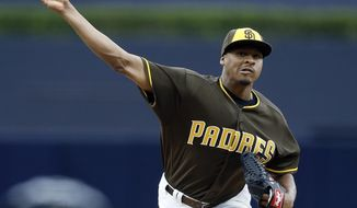 San Diego Padres starting pitcher Luis Perdomo throws during the first inning of the team's baseball game against the Detroit Tigers in San Diego, Friday, June 23, 2017. (AP Photo/Alex Gallardo)