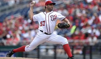 Washington Nationals starting pitcher Tanner Roark delivers during the first inning of a baseball game against the Cincinnati Reds, Sunday, June 25, 2017, in Washington. (AP Photo/Nick Wass)