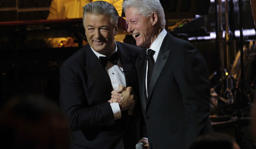 "Alec Baldwin, left, and and former President Bill Clinton attend Spike TV's ""One Night Only: Alec Baldwin"" at the Apollo Theater on Sunday, June 25, 2017, in New York. (Photo by Charles Sykes/Invision/AP)"