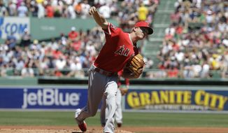 Los Angeles Angels' Parker Bridwell delivers a pitch against the Boston Red Sox in the first inning of a baseball game, Sunday, June 25, 2017, in Boston. (AP Photo/Steven Senne)