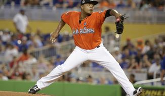 Miami Marlins starting pitcher Edinson Volquez delivers during the first inning of a baseball game against the Chicago Cubs, Sunday, June 25, 2017, in Miami. (AP Photo/Lynne Sladky)