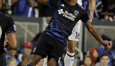 Real Salt Lake defender Chris Wingert, top, defends San Jose Earthquakes forward Danny Hoesen during the second half of an MLS soccer match Saturday, June 24, 2017, in San Jose, Calif. (AP Photo/Marcio Jose Sanchez)