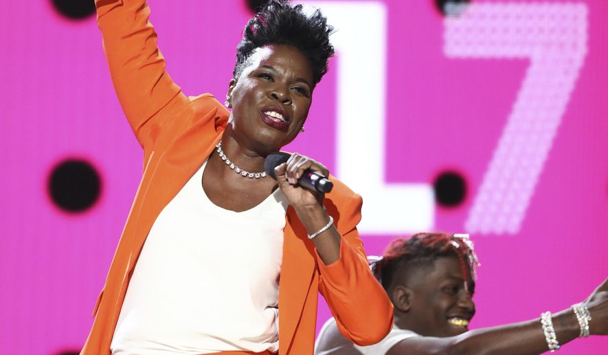 Host Leslie Jones performs a skit at the BET Awards at the Microsoft Theater on Sunday, June 25, 2017, in Los Angeles. (Photo by Matt Sayles/Invision/AP)
