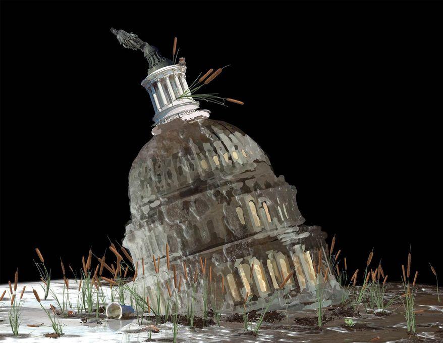Illustration on draining the Washington swamp by Nancy Ohanian/Tribune Content Agency