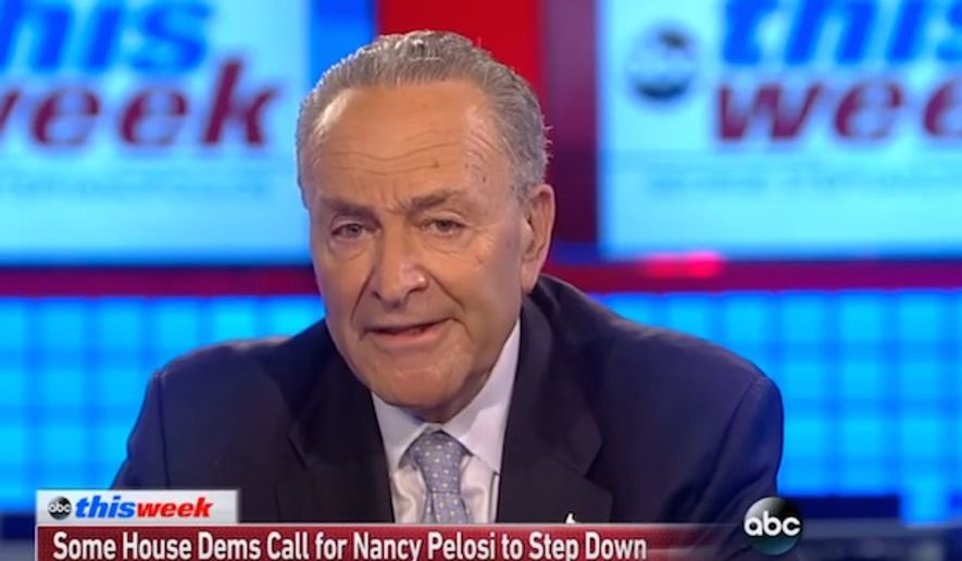"Senate Minority Leader Chuck Schumer appeared on ABC's ""This Week"" on June 25, 2017, and said calls for House Minority Leader Nancy Pelosi to step down are a case of trying to ""blame the leader"" for the party's struggles. (ABC ""This Week"" screenshot)"