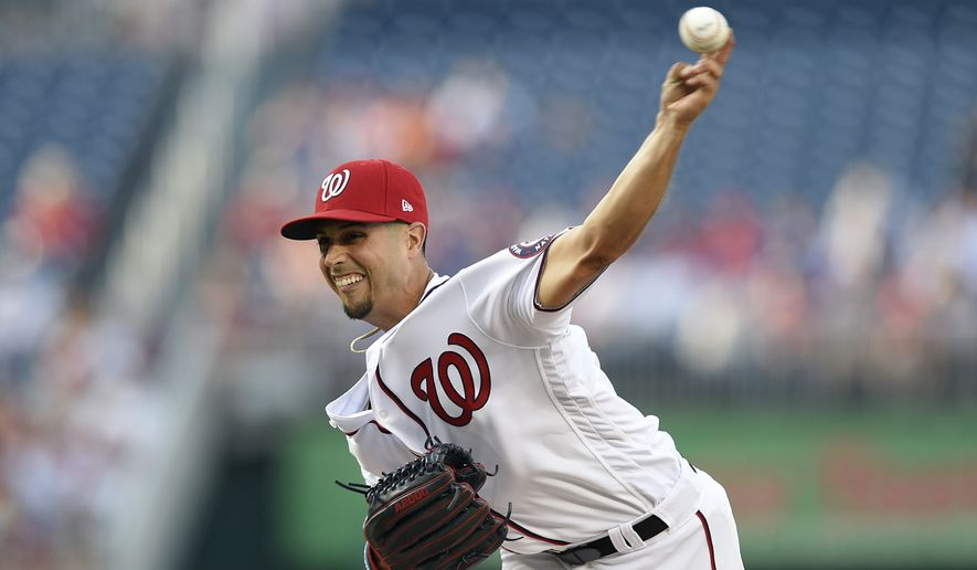 Washington Nationals starting pitcher Gio Gonzalez delivers a pitch during the first inning of a baseball game against the Chicago Cubs, Monday, June 26, 2017, in Washington. (AP Photo/Nick Wass)