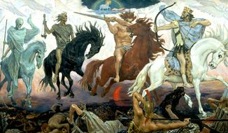 """Democratic Rep. Mazie Hirono of Hawaii called Supreme Court Justices Neil Gorsuch, Clarence Thomas, and Samuel Alito """"horsemen of the apocalypse"""" during an MSNBC interview, June 26, 2017. (Four Horsemen of Apocalypse,Viktor Vasnetsov, 1887)"""