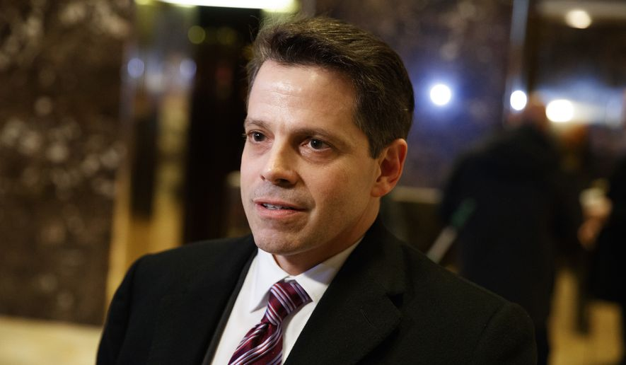 In this Jan. 13, 2017, file photo, Anthony Scaramucci, a senior adviser to President-elect Donald Trump, talks to reporters in the lobby of Trump Tower in New York. (AP Photo/Evan Vucci, File)