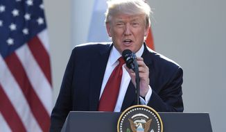 President Donald Trump thanks the audience at the end of joints statements with Indian Prime Minister Narendra Modi in the Rose Garden of the White House in Washington, Monday, June 26, 2017. (AP Photo/Susan Walsh)