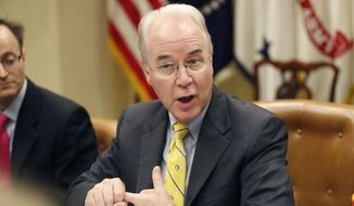 In this June 21, 2017, file photo, Health and Human Services Secretary Tom Price speaks during a listening session in the Roosevelt Room of the White House, in Washington. (AP Photo/Alex Brandon, File)