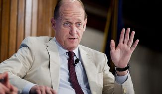 FILE - In this May 15, 2015 file photo, then-Delta Air Lines Chief Executive Officer Richard Anderson speaks at the National Press Club in Washington. Amtrak on Monday, June 26, 2017, namedAnderson as its new president and CEO. (AP Photo/Manuel Balce Ceneta, File)