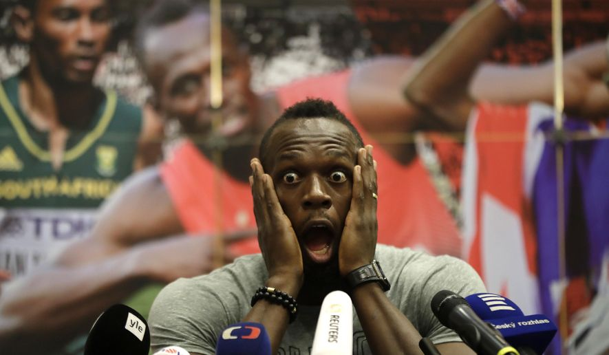 Jamaica's sprinter Usain Bolt grimaces during a press conference prior Golden Spike Athletic meeting in Ostrava, Czech Republic, Monday, June 26, 2017. Bolt will compete in the 100 meters at the Golden Spike on Wednesday, June 28, 2017. (AP Photo/Petr David Josek)