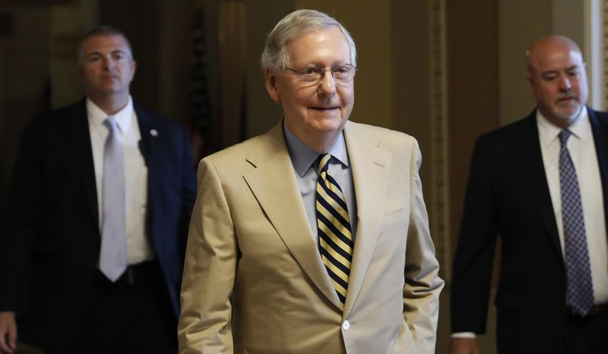 Senate Majority Leader Mitch McConnell, Kentucky Republican, said he planned to move forward this week on a floor vote for repeal of Obamacare and replacement with his own bill. (Associated Press)