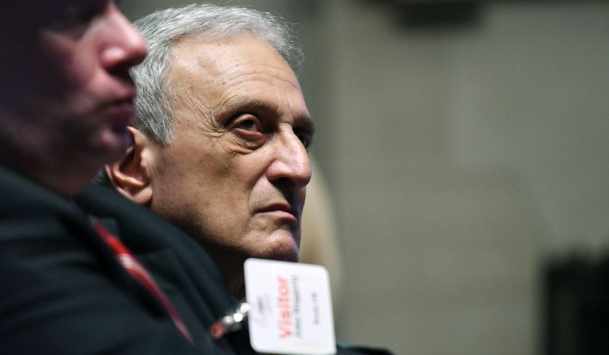 Carl Paladino listens during a hearing to determine if he should be removed from the Buffalo school board on Thursday, June 22, 2017, at the State Education Building, in Albany, N.Y.  The state Education Department hearing got underway Thursday for the one-time candidate for New York governor who publicly insulted former President Barack Obama and his wife and stands accused of disclosing confidential school board business.  (Will Waldron /The Albany Times Union via AP)