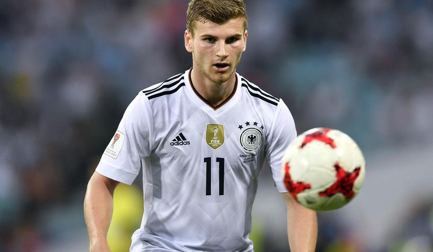 Germany's Timo Werner eyes the ball during the Confederations Cup, Group B soccer match between Germany and Cameroon, at the Fisht Stadium in Sochi, Russia, Sunday, June 25, 2017. (AP Photo/Martin Meissner)