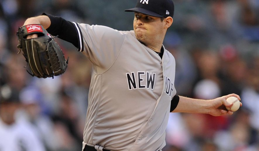New York Yankees starter Jordan Montgomery delivers a pitch during the first inning of a baseball game against the Chicago White Sox, Monday, June 26, 2017, in Chicago. (AP Photo/Paul Beaty)