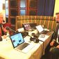 "Talk radio host Lars Larson interviews then-Sen. Jeff Sessions during the 2016 ""Hold Their Feet to the Fire"" broadcast event organized by the Federation for Immigration Reform. (Lars Larson)"
