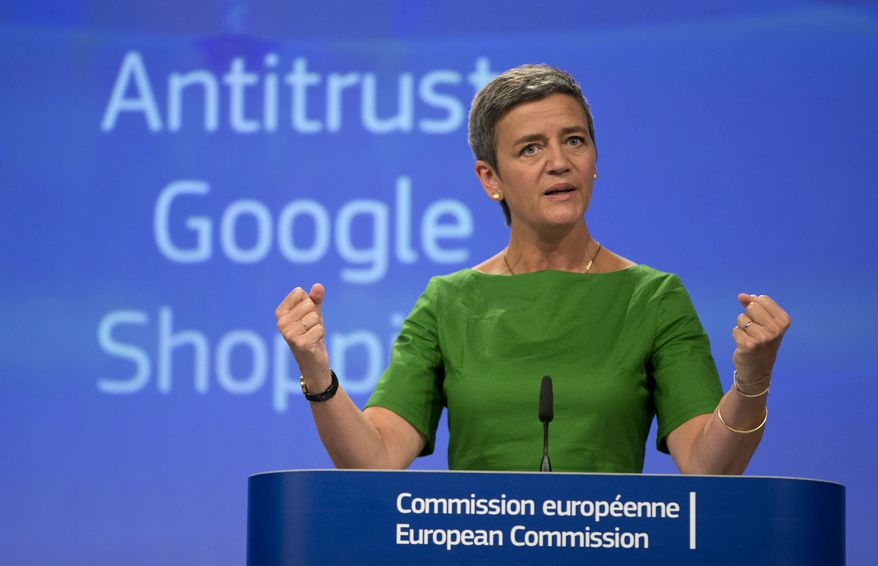 """European Union Commissioner for Competition Margrethe Vestager said Google """"denied other companies the chance to compete on the merits and to innovate. Most importantly, it denied European consumers a genuine choice of services and the full benefits of innovation."""" (Associated Press)"""