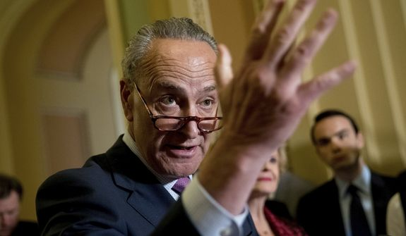 Senate Minority Leader Sen. Chuck Schumer of N.Y. speaks to reporters after GOP leadership announce they are delaying a vote on the Republican health care bill, at the Capitol in Washington, Tuesday, June 27, 2017. (AP Photo/Andrew Harnik)