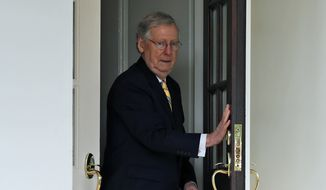Senate Majority Leader Mitch McConnell of Ky., steps out of the West Wing to speak with the media after he and other Senate Republicans had a meeting with President Donald Trump at the White House, Tuesday, June 27, 2017, in Washington. (AP Photo/Alex Brandon)