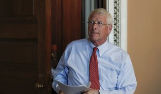 Sen. Roger Wicker, R-Miss., leaves a meeting on Capitol Hill in Washington, Tuesday, June 27, 2017. In a bruising setback, Senate Republican leaders shelved a vote on their prized health care bill Tuesday until at least next month, forced to retreat by a GOP rebellion that left them lacking enough votes to even begin debate. (AP Photo/Carolyn Kaster) **FILE**