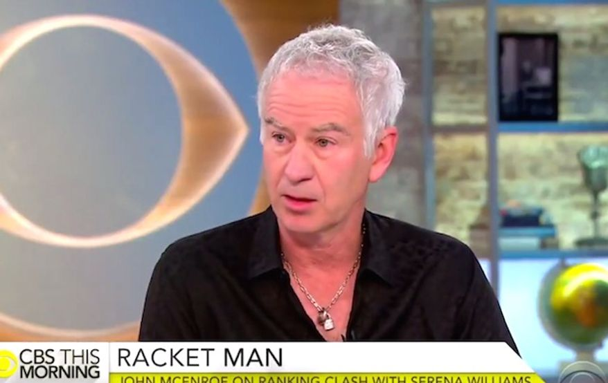 """Tennis icon John McEnroe refused to apologize on June 27, 2017, for comments he made about Serena Williams' ranking in a hypothetical scenario where she played on the men's circuit. (""""CBS This Morning"""" screenshot)"""