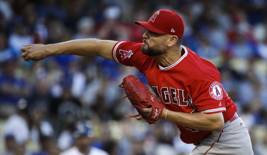Los Angeles Angels starting pitcher Ricky Nolasco throws against the Los Angeles Dodgers during the first inning of a baseball game, Monday, June 26, 2017, in Los Angeles. (AP Photo/Jae C. Hong)