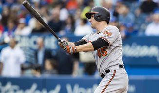Baltimore Orioles' Mark Trumbo hits a two RBI double during the first inning of MLB baseball action against the Toronto Blue Jays, in Toronto, Tuesday, June 27, 2017. (Mark Blinch/The Canadian Press via AP)