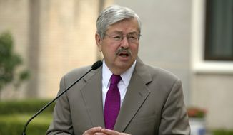 U.S. Ambassador to China Terry Branstad, makes comments about pro-democracy activist and Nobel Laureate Liu Xiaobo during a photocall and remarks to journalists at the Ambassador's residence in Beijing, China, Wednesday, June 28, 2017. The newly arrived U.S. ambassador in Beijing says the Nobel Peace Prize laureate should be allowed to get treatment outside China after he was diagnosed with cancer while imprisoned for subversion. (AP Photo/Ng Han Guan)