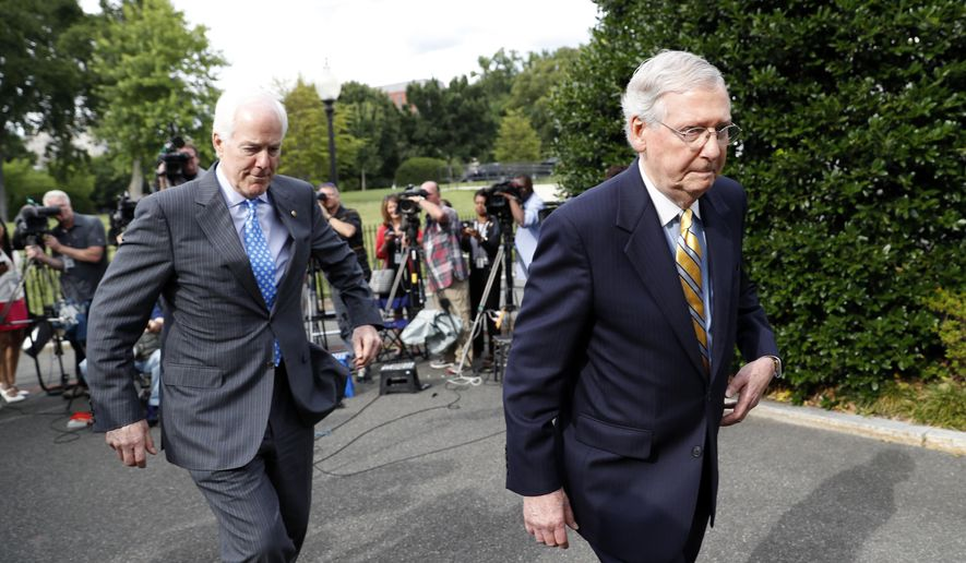 Senate Majority Leader Mitch McConnell of Ky., left, and Senate Majority Whip Sen. John Cornyn, R-Texas depart after speaking with the media after they and other Senate Republicans had a meeting with President Donald Trump at the White House, Tuesday, June 27, 2017, in Washington. (AP Photo/Alex Brandon)