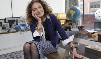 In this June 19, 2017 photo, designer Diane Von Furstenberg appears during an interview in her office in the Meat Packing District  in New York. At age 70, Diane von Furstenberg is refocusing. Having handed over the creative reins of her fashion label to Jonathan Saunders, one of fashion's most iconic names is now turning her energies to philanthropy. (AP Photo/Richard Drew)