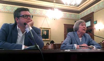 Rep. Mike Zalewski, D-Riverside, and House Majority Leader Barbara Flynn Currie, D-Chicago advocate for a property tax freeze before the House Revenue and Finance Committee Tuesday, June, 27, 2017, at the State Capitol in Springfield, Ill. (AP Photo by John O'Connor)