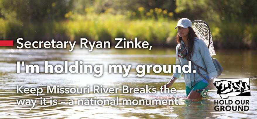 This billboard design using an undated photo provided by Montana Wilderness Association of fly fishing television host Hilary Hutcheson, shows one of five billboards that are being installed Friday, June 23, 2017 and Monday, June 26, that will greet U.S. Interior Secretary Ryan Zinke when he returns to his hometown in Whitefish, Mont. Zinc will speak next at the Western Governors Association annual conference. (Eric Ian/Montana Wilderness Association via AP)