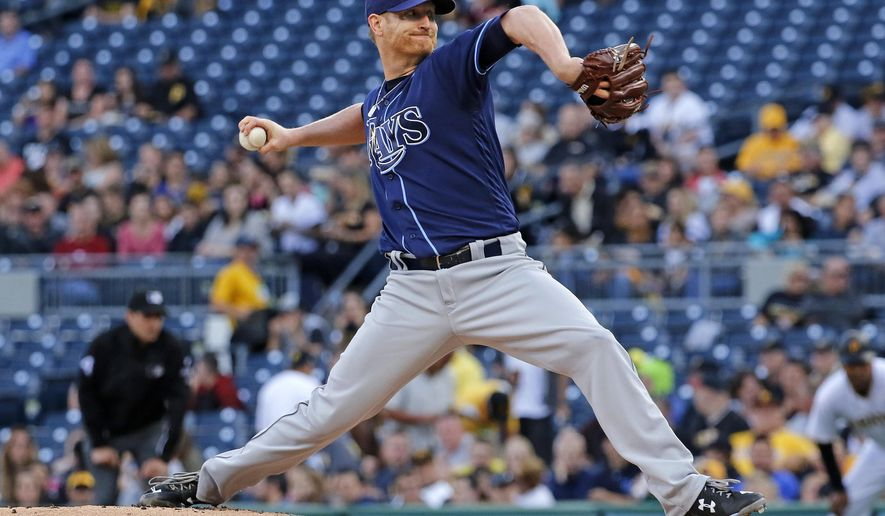 Tampa Bay Rays starting pitcher Alex Cobb delivers during the first inning of the team's baseball game against the Pittsburgh Pirates in Pittsburgh, Tuesday, June 27, 2017. (AP Photo/Gene J. Puskar)