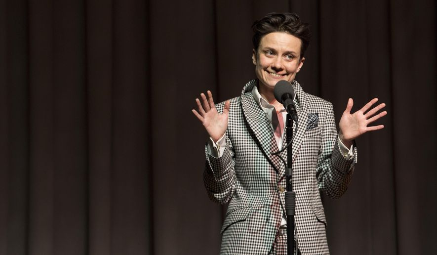 This Feb. 5, 2016 photo released by The Moth shows Tara Clancy. Clancy tells her own stories via The Moth, a global storytelling podcast of recordings from live events. (The Moth via AP)