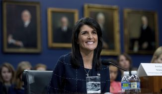 U.S. Ambassador to the UN Nikki Haley smiles while testifying on Capitol Hill in Washington, Tuesday, June 27, 2017, before the House State, Foreign Operations, and Related Programs subcommittee budget hearing on the United Nations and International Organizations. (AP Photo/Andrew Harnik)