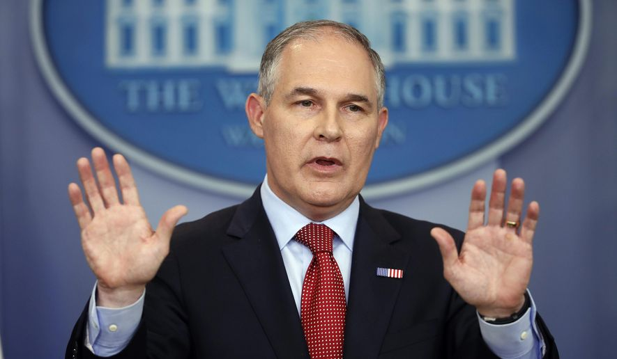 EPA Administrator Scott Pruitt speaks to the media during the daily briefing in the Brady Press Briefing Room of the White House in Washington on June 2, 2017. (Associated Press) **FILE**