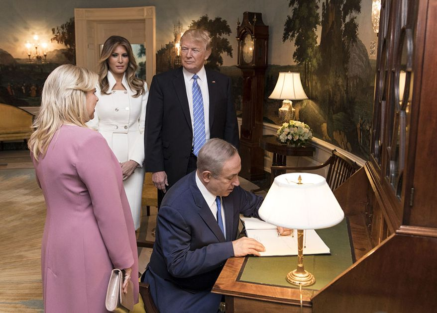 President Donald Trump and First Lady Melania Trump accompany Israeli Prime Minister Benjamin Netanyahu and his wife, Sara Netanyahu, Wednesday, Feb. 15, 2017, to the Diplomatic Reception room to sign the guest book at the White House in Washington, D.C. (Official White House Photo by Shealah D. Craighead)