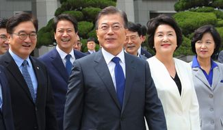 South Korean President Moon Jae-in will meet with President Trump to discuss a controversial U.S. missile defense system and nuclear issues with North Korea. (Associated Press)