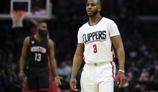 Los Angeles Clippers guard Chris Paul in action during the second half of an NBA basketball game against the Houston Rockets in Los Angeles, Wednesday, March 1, 2017. The Rockets won 122-103. (AP Photo/Kelvin Kuo)
