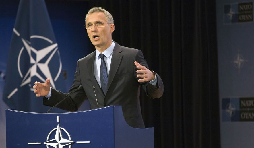NATO Secretary General Jens Stoltenberg speaks during a media conference at NATO headquarters in Brussels on Wednesday, June 28, 2017. NATO defense ministers meet on Thursday to discuss, among other issues, the situation in Afghanistan. (AP Photo/Virginia Mayo)