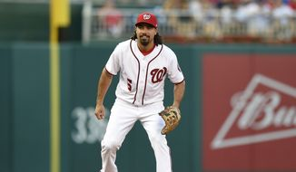 Washington Nationals third baseman Anthony Rendon (6) looks on during a baseball game against the Chicago Cubs, Monday, June 26, 2017, in Washington. (AP Photo/Nick Wass)
